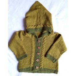 Strick-Set Babyjacke mit Kaputze Babyalpaca Gr. 6-24 Monate