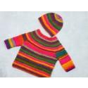 Strick-Set Babypullover mit Mütze und Schühchen Gr. 56