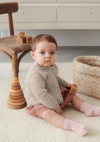 Strick-Set Sandnes Garn Charlie Jacke Mandarin Petit 2106 Gr. 3 - 6 Monate