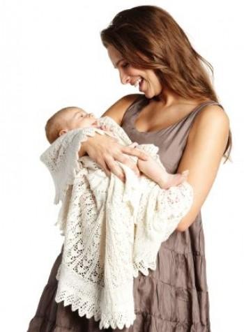 Strick-Set Babydecke mit Herzchenmuster Babyalpaca