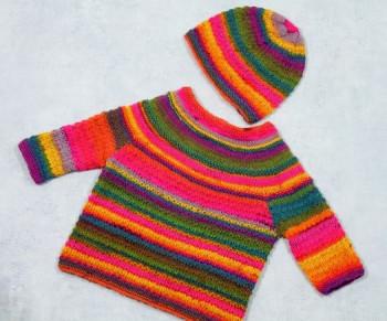 Babypullover mit Mütze Gr. 56