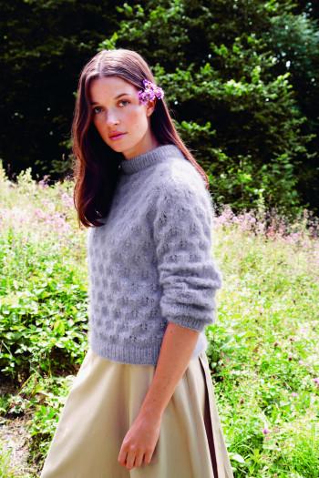 Strick-Set Sandnes Garn Schneeglöckchen Pullover Tynn Silk Mohair 2013 Gr. M - L