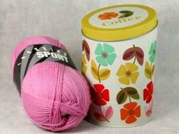Dekodose mit Sockengarn Coffee Blumen rosa