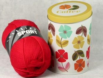 Dekodose mit Sockengarn Coffee Blumen rot