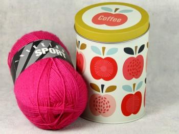 Dekodose mit Sockengarn Coffee Apfel pink