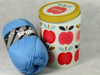 Dekodose mit Sockengarn Coffee Apfel blau
