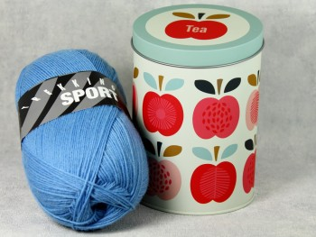 Dekodose mit Sockengarn Tea Apfel blau