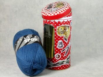 Dekodose mit Sockengarn für Nähbegeisterte blau