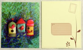 Grußkarte mit Umschlag Vogelhäuser