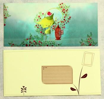 Grußkarte mit Umschlag grüne Katze