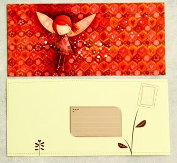 Grußkarte mit Umschlag rotes Mädchen