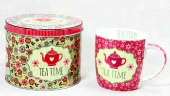 Porzellan Becher mit Dekobox Tea Time
