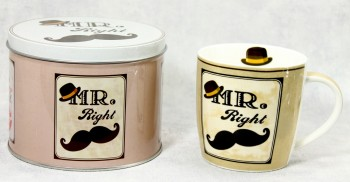 Porzella -Becher in Geschenk Box Mr Right