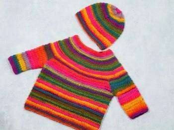 Strick-Set Babypullover mit Mütze
