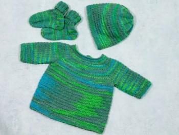 Strick-Set Babypullover mit Mütze und Schühchen