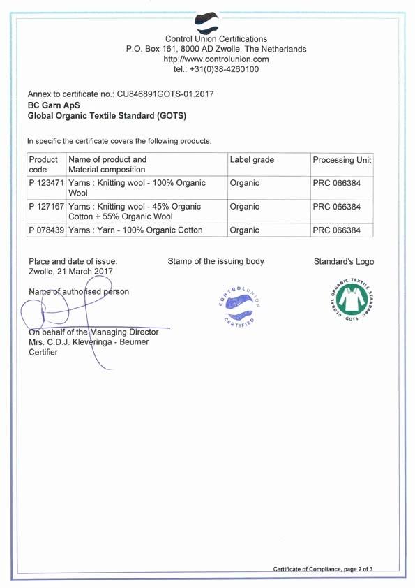 GOTS Zertifikat BC Garn