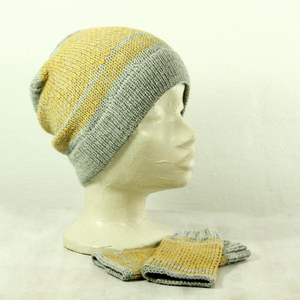 Mütze und Handwärmer zweifarbig