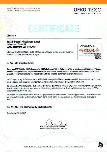Öko Tex Zertifikat Atelier Zitron